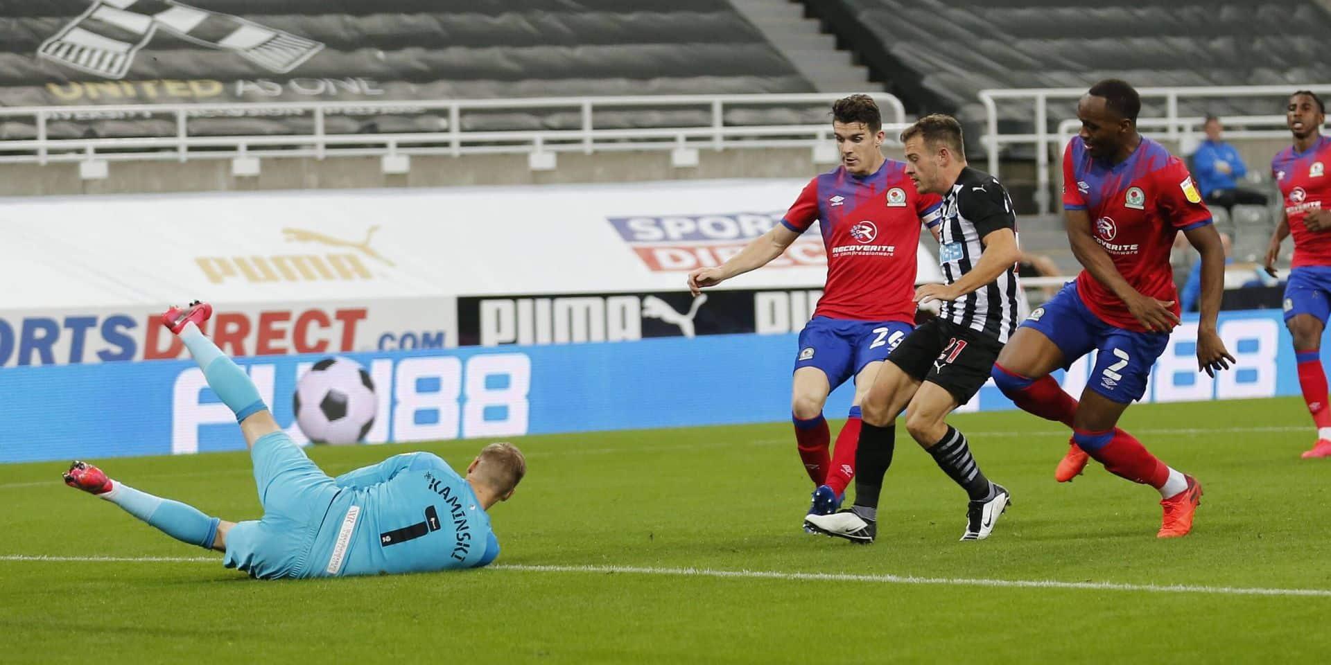 Newcastle United v Blackburn Rovers EFL Cup 15/09/2020. Blackburn Rovers goalkeeper Thomas Kaminski (1) denies Newcastl