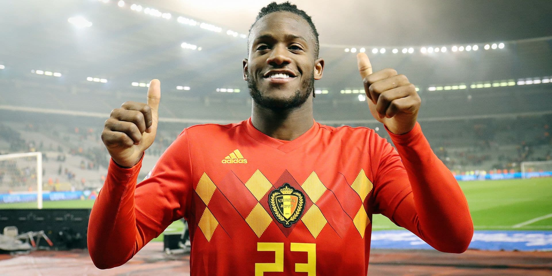Belgium's Michy Batshuayi celebrates after winning the match between Belgian national team the Red Devils and Iceland, in Brussels, Thursday 15 November 2018, in the Nations League. BELGA PHOTO VIRGINIE LEFOUR