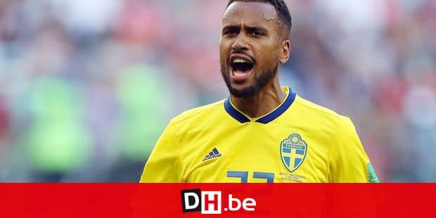 (180703) -- SAINT PETERSBURG, July 3, 2018 () -- Isaac Kiese Thelin of Sweden celebrates victory after the 2018 FIFA World Cup round of 16 match between Switzerland and Sweden in Saint Petersburg, Russia, July 3, 2018. Sweden won 1-0 and advanced to the quarter-final. (/Cao Can) Reporters / Photoshot