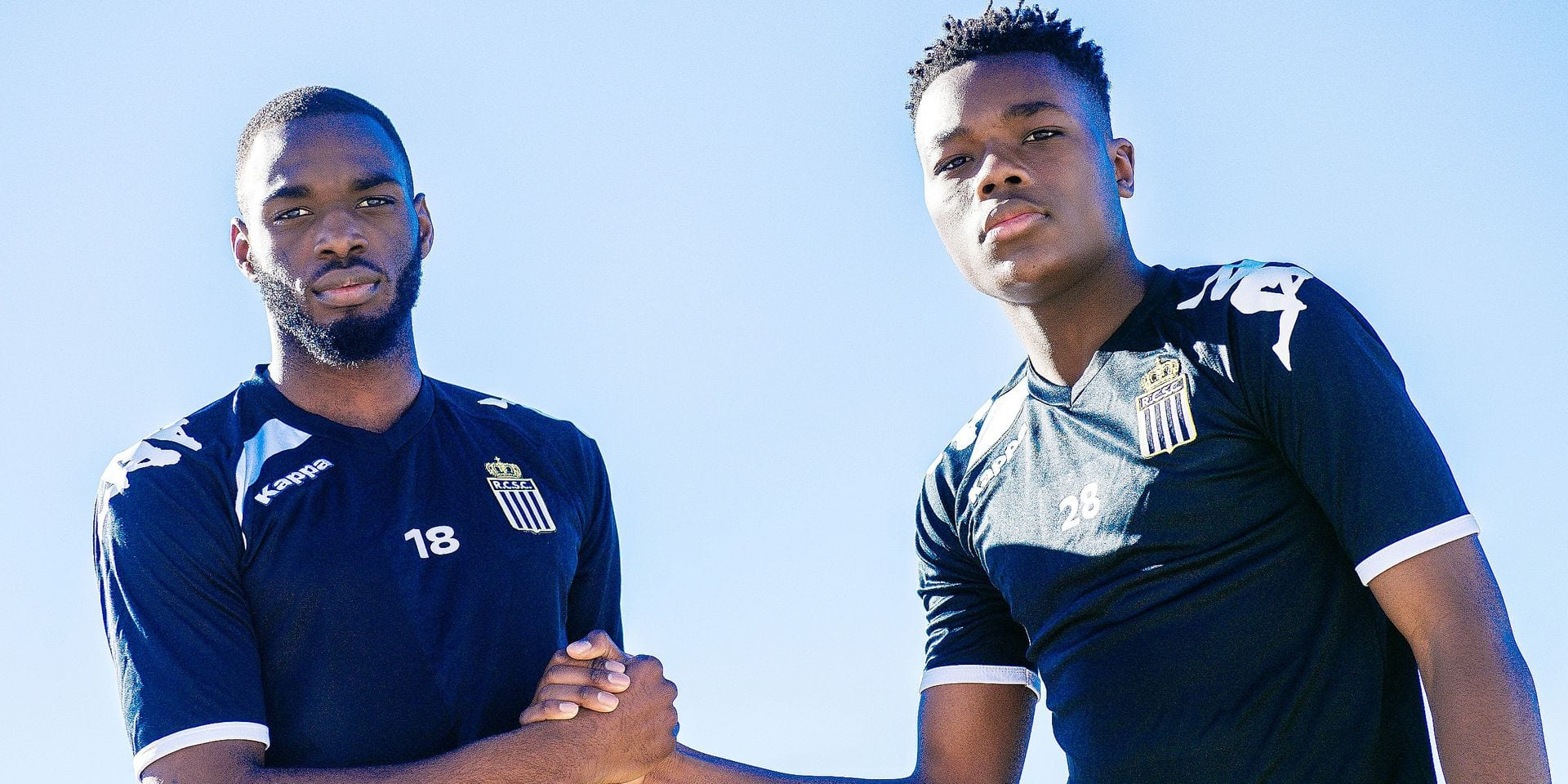 Charleroi's Messie Biatoumoussoka and Charleroi's Ken Nkuba pose for the photographer on the fifth day of the winter training camp of Belgian first division soccer team Sporting Charleroi, in Valencia, Spain, Wednesday 09 January 2019. BELGA PHOTO LAURIE DIEFFEMBACQ