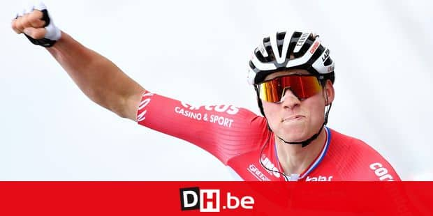 Dutch Mathieu Van der Poel of Corendon-Circus celebrates as he crosses the finish line to win the 74th edition of the 'Dwars Door Vlaanderen' cycling race, 182,8 km from Roeselare to Waregem, Wednesday 03 April 2019. BELGA PHOTO YORICK JANSENS