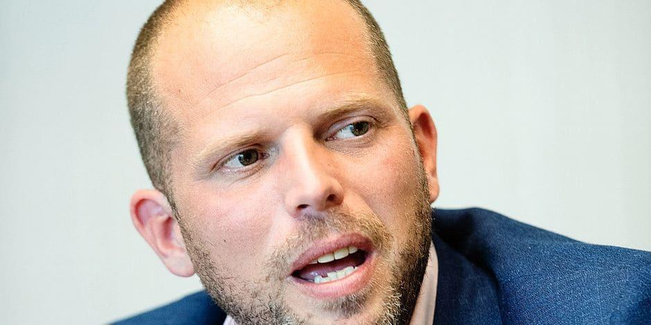Bruxelles - Siege de la NVA - Theo Francken lors de la campagne electorale federale 2019