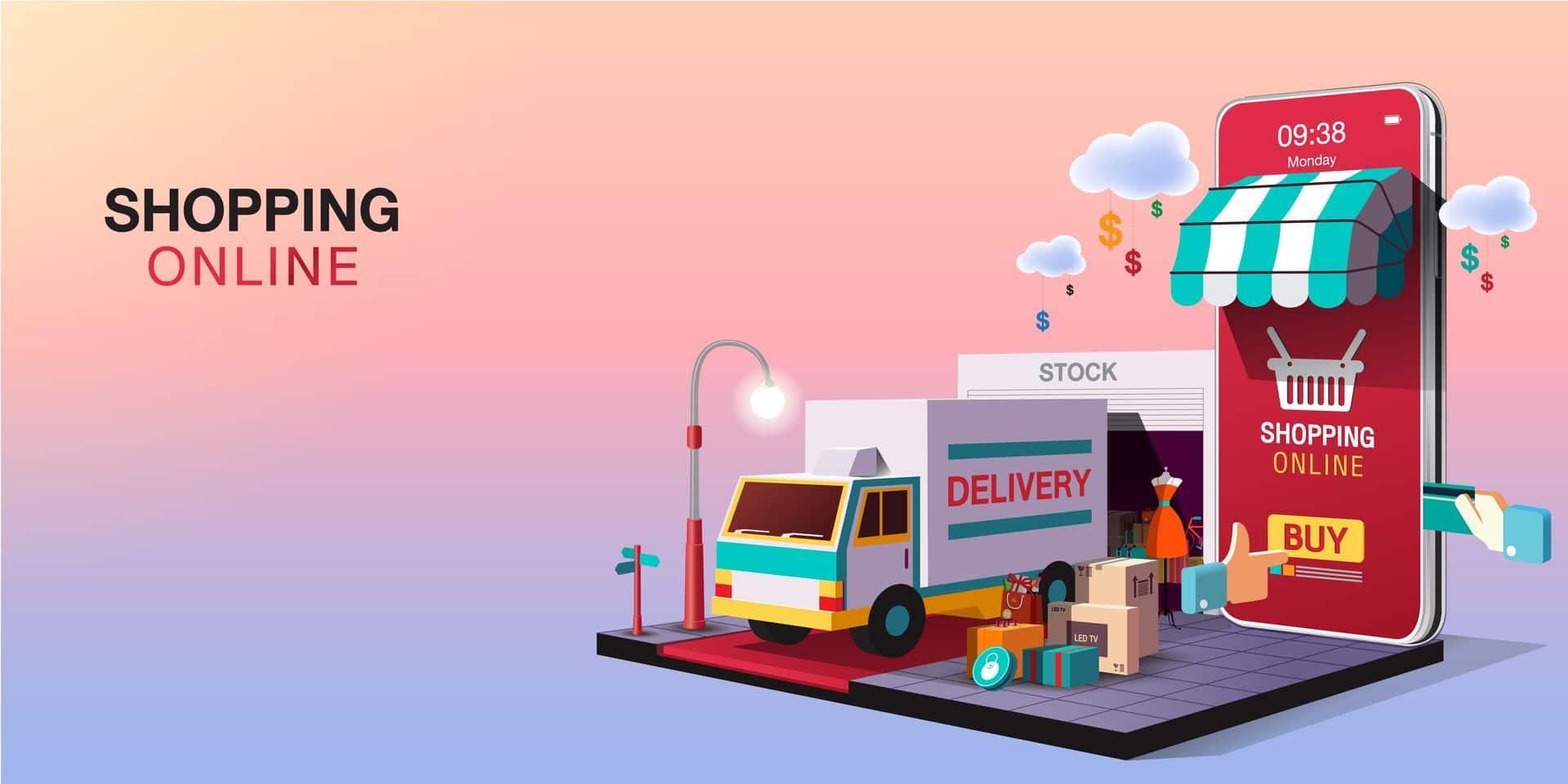 Mobile,Application,,Shopping,Online,On,Website,,Vector,Concept