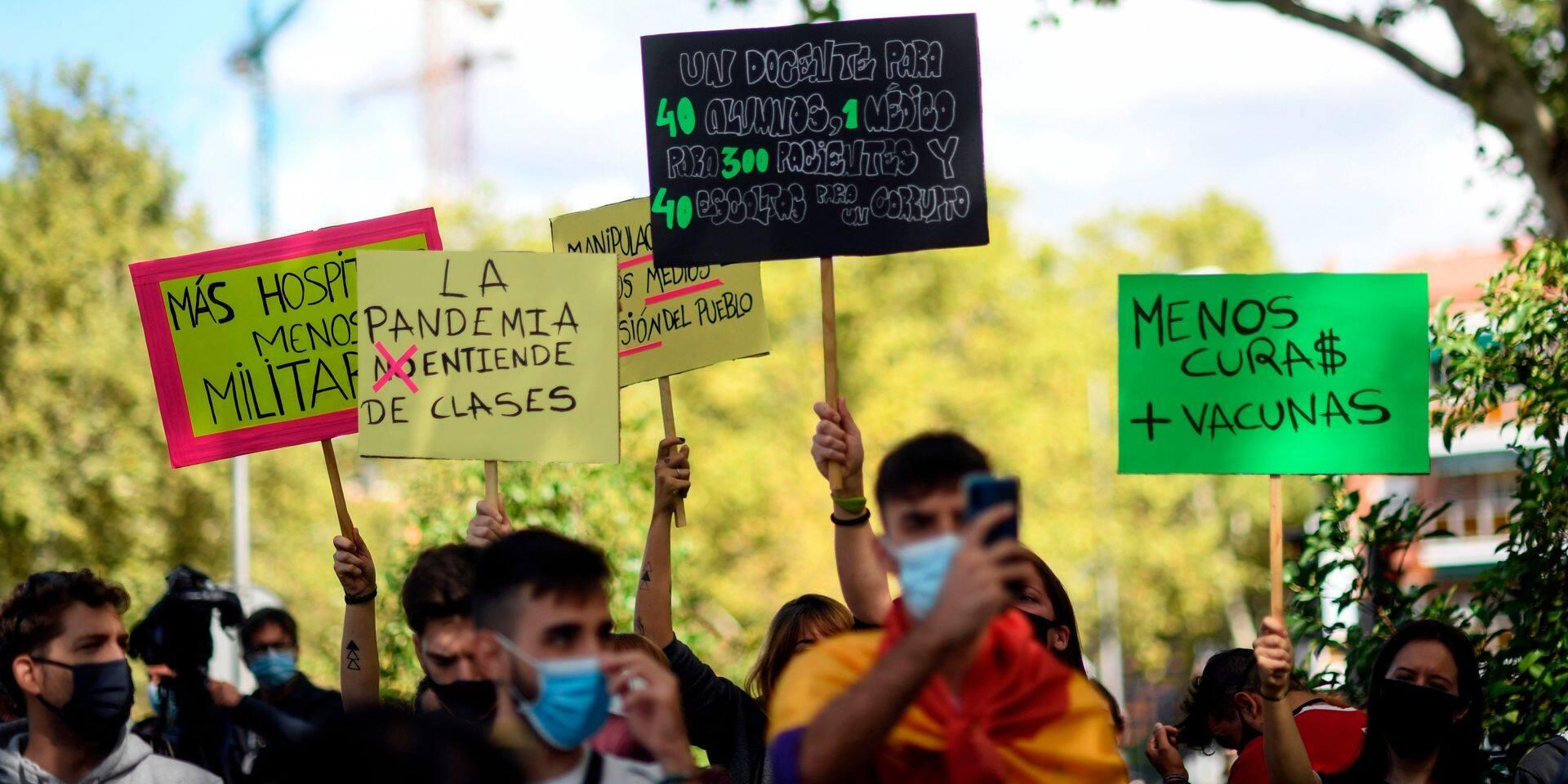 """Un tribunal de Madrid rejette les mesures de confinement partiel, """"nuisibles aux droits fondamentaux"""""""