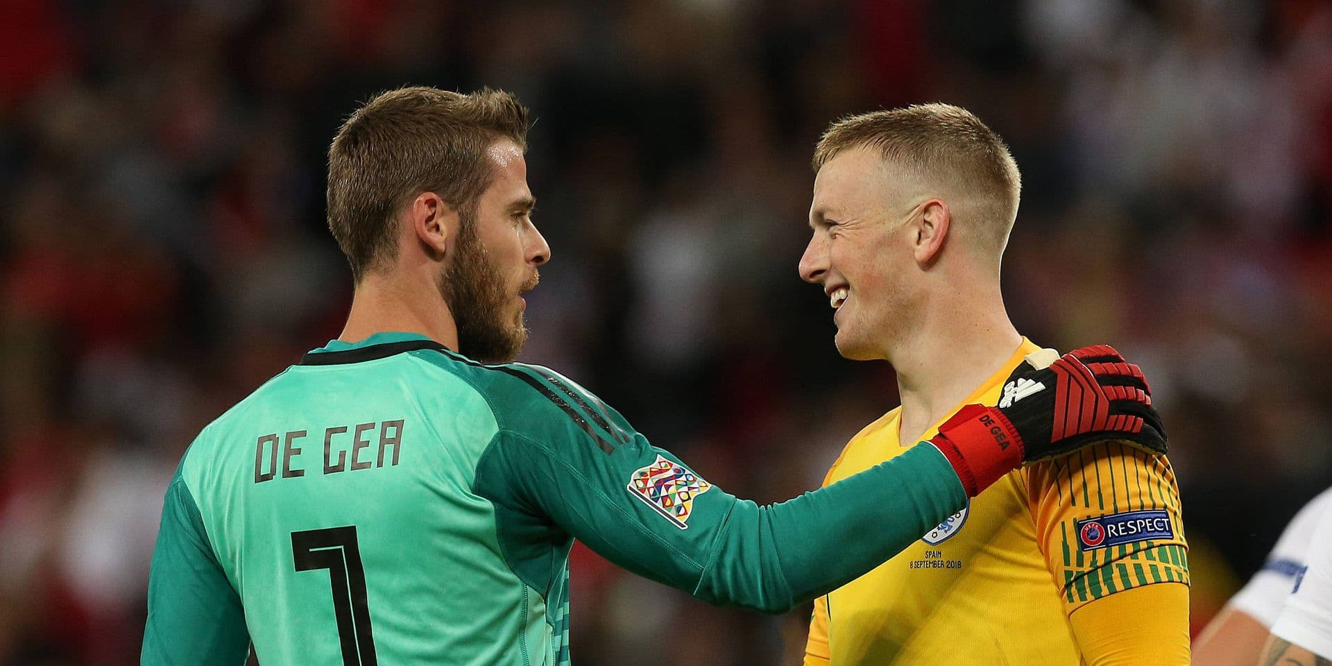 England v Spain UEFA Nations League Jordan Pickford of England and David De Gea of Spain at the end