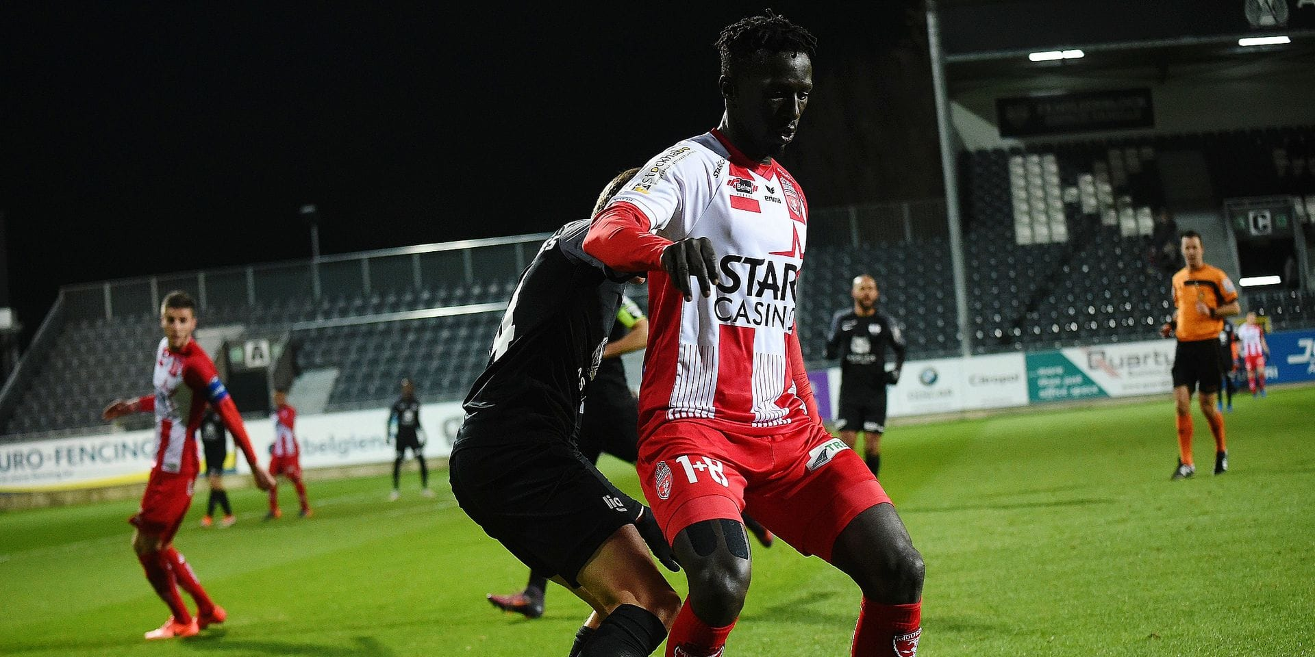 Eupen's Silas Gnaka and Mouscron's Mbaye Leye fight for the ball during a soccer match between KAS Eupen and Royal Excel Mouscron, Saturday 15 December 2018 in Eupen, on day 19 of the 'Jupiler Pro League' Belgian soccer championship season 2018-2019. BELGA PHOTO JOHN THYS