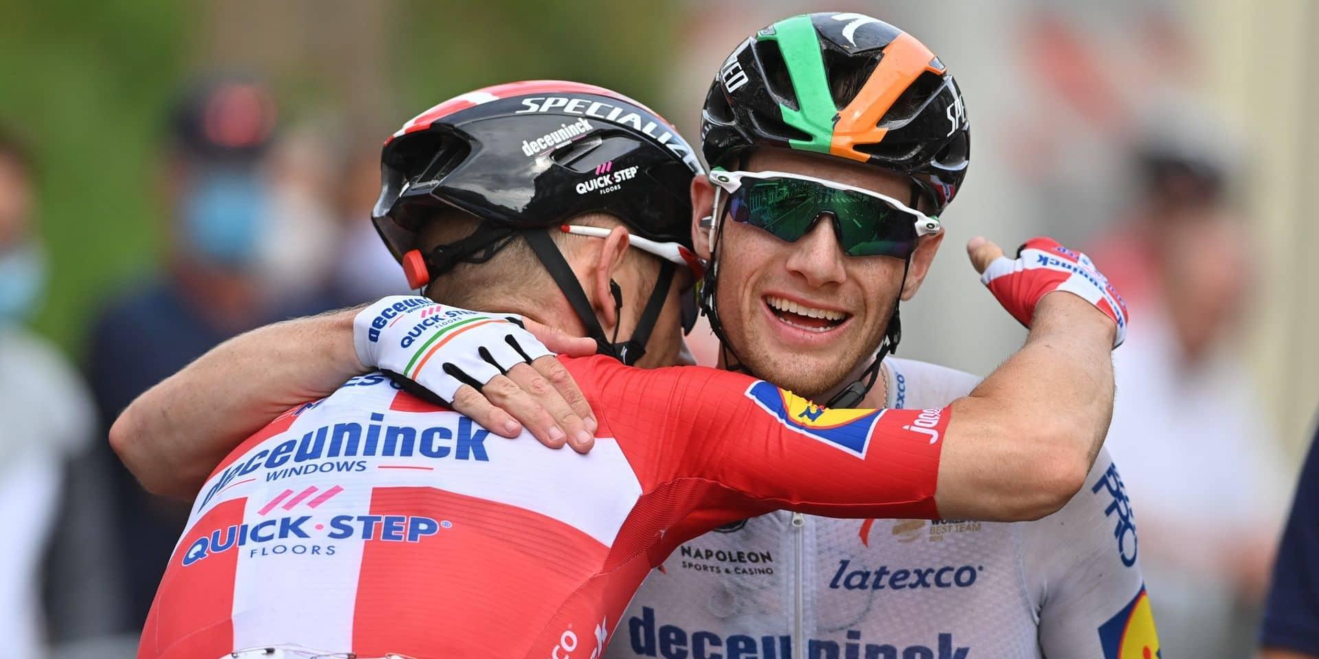 """Sam Bennett victorieux lors de la 3e étape du Tour de Wallonie: """"Ma victoire à Visé est pour Fabio et Remco"""""""