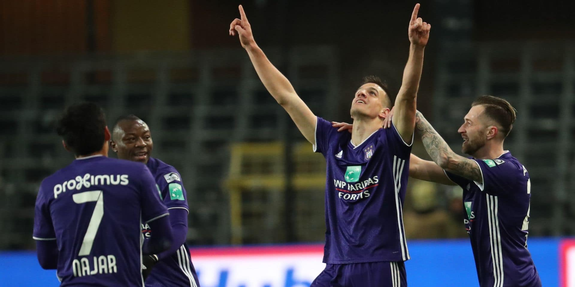 Anderlecht's Ivan Santini and Anderlecht's Peter Zulj celebrate after scoring during the soccer match between RSC Anderlecht and KAS Eupen, Sunday 27 January 2019 in Brussels, on the 23rd day of the 'Jupiler Pro League' Belgian soccer championship season 2018-2019. BELGA PHOTO VIRGINIE LEFOUR