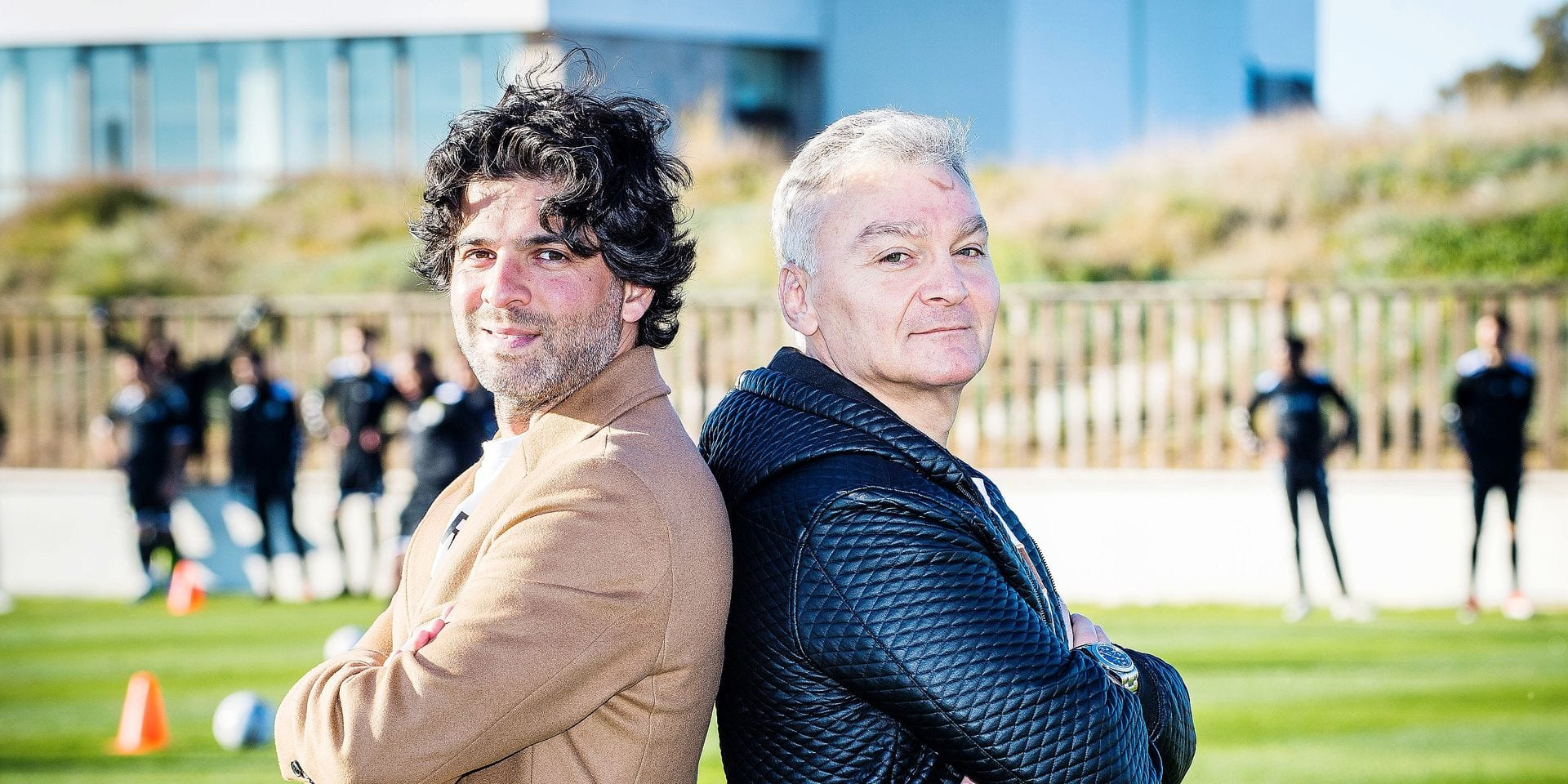 Charleroi's manager Mehdi Bayat and Charleroi's chairman, QNT CEO Fabien Debecq pose for the photographer on the fifth day of the winter training camp of Belgian first division soccer team Sporting Charleroi, in Valencia, Spain, Wednesday 09 January 2019. BELGA PHOTO LAURIE DIEFFEMBACQ