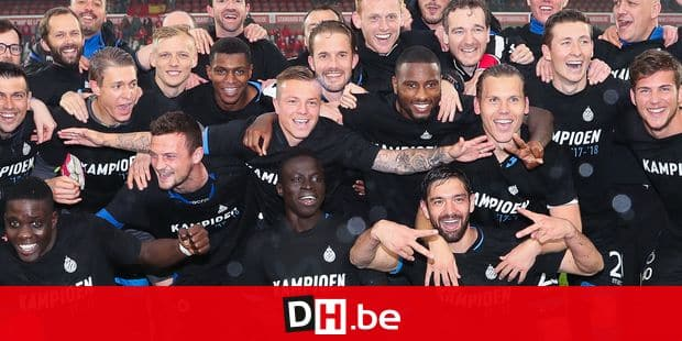 Club's players celebrate after the Jupiler Pro League match between Standard de Liege and Club Brugge, in Liege, Sunday 13 May 2018, on day nine (out of ten) of the Play-Off 1 of the Belgian soccer championship. BELGA PHOTO BRUNO FAHY