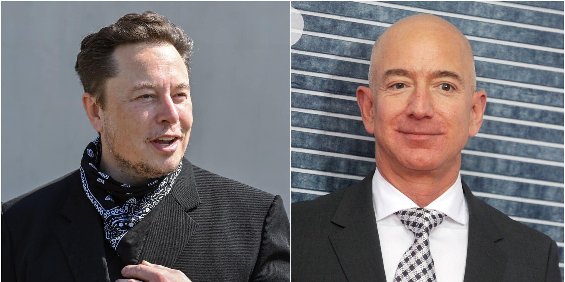 Elon Musk (à gauche) et Jeff Bezos (à droite).