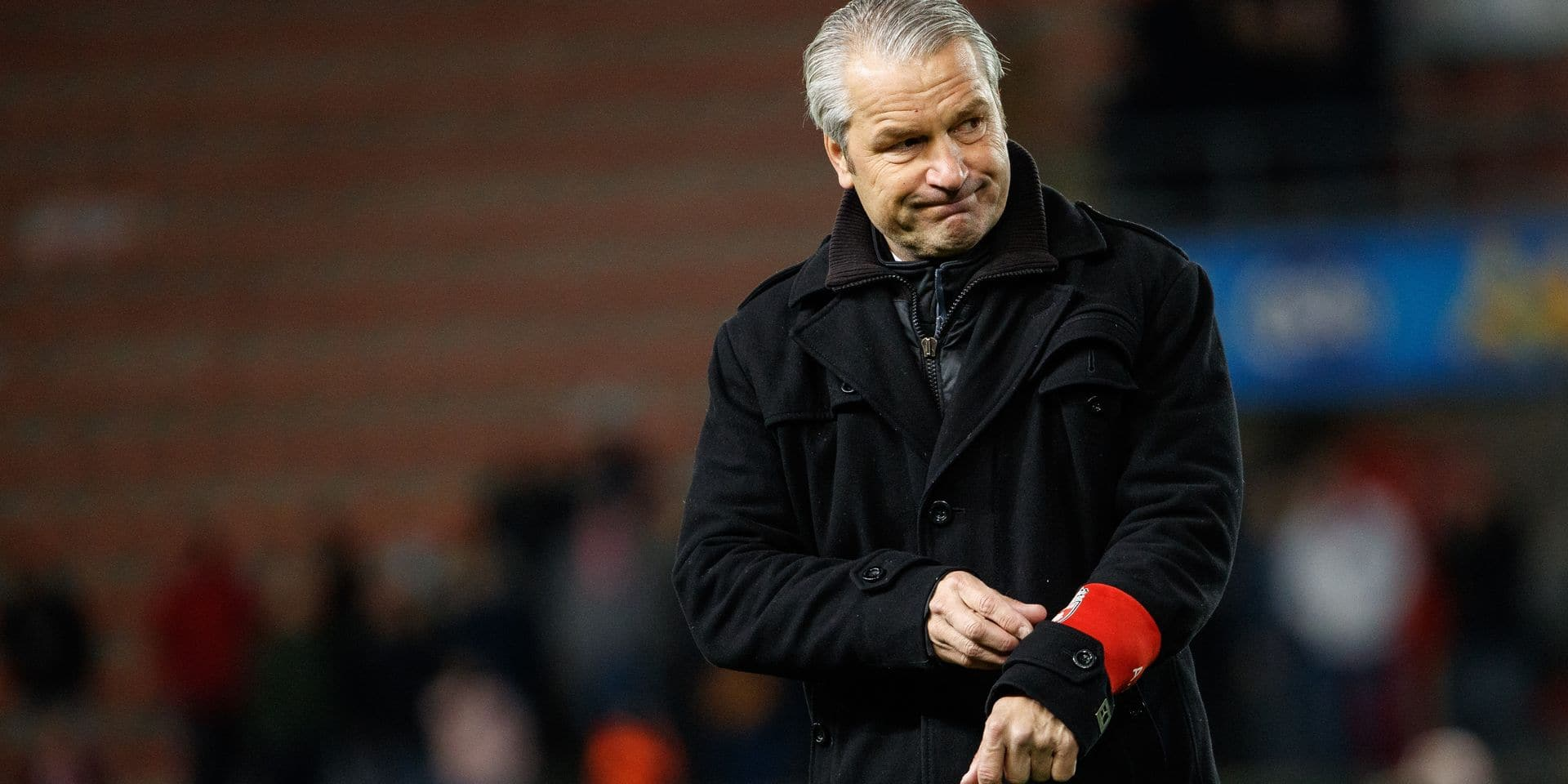 Mouscron's head coach Bernd Storck pictured after a soccer game between Royal Excel Mouscron and Zulte Waregem, Sunday 05 May 2019 in Mouscron, on day 7 (out of 10) of the Play-off 2B of the 'Jupiler Pro League' Belgian soccer championship. BELGA PHOTO KURT DESPLENTER