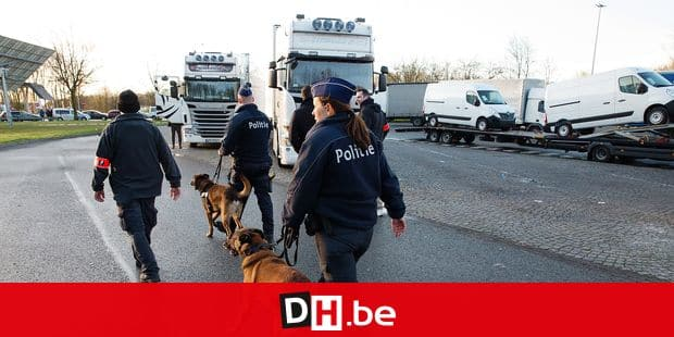 20150330 - DRONGEN, BELGIUM: Illustration picture shows an action of police against smuggling in a parking along E40 in Drongen, Monday 30 March 2015. BELGA PHOTO KURT DESPLENTER