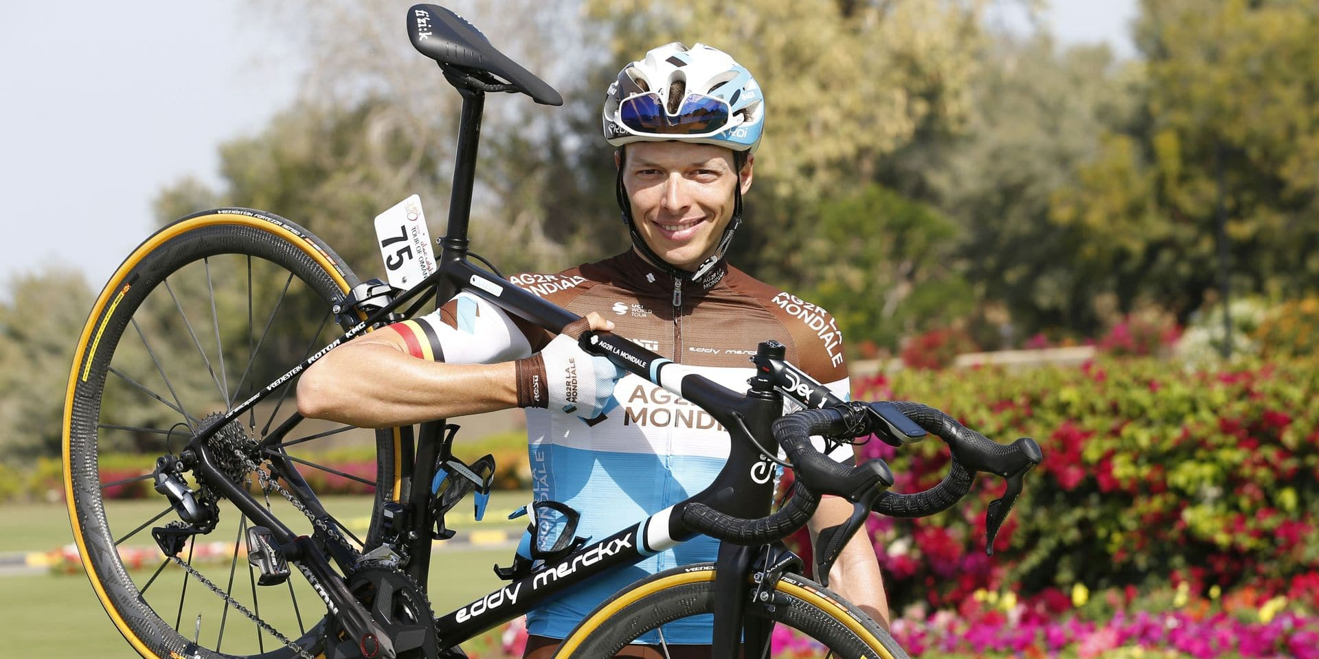 Belgian Oliver Naesen of AG2R La Mondiale pictured at the second stage of the Oman cycling Tour 2019, 156,5km from Royal Cavalry Oman to Al Bustan, Sunday 17 February 2019. This years Tour of Oman is taking place from 16 to 21 February. BELGA PHOTO YUZURU SUNADA FRANCE OUT