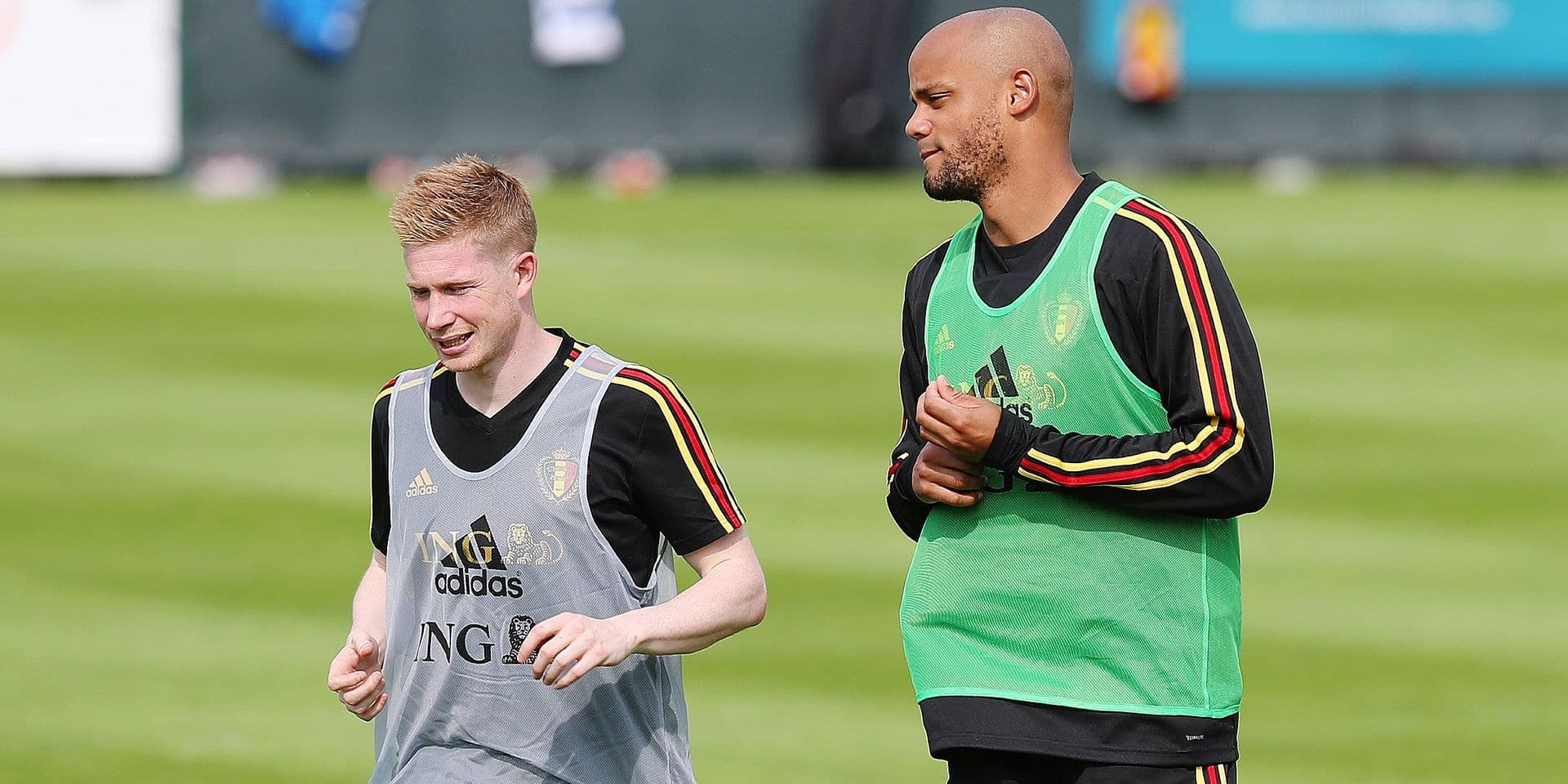 Belgium's Kevin De Bruyne and Belgium's Vincent Kompany pictured during a training session of Belgian national soccer team the Red Devils, Tuesday 04 June 2019. The team will be playing two European Cup 2020 qualification games against Kazachstan and Scotland in Belgium. BELGA PHOTO BRUNO FAHY