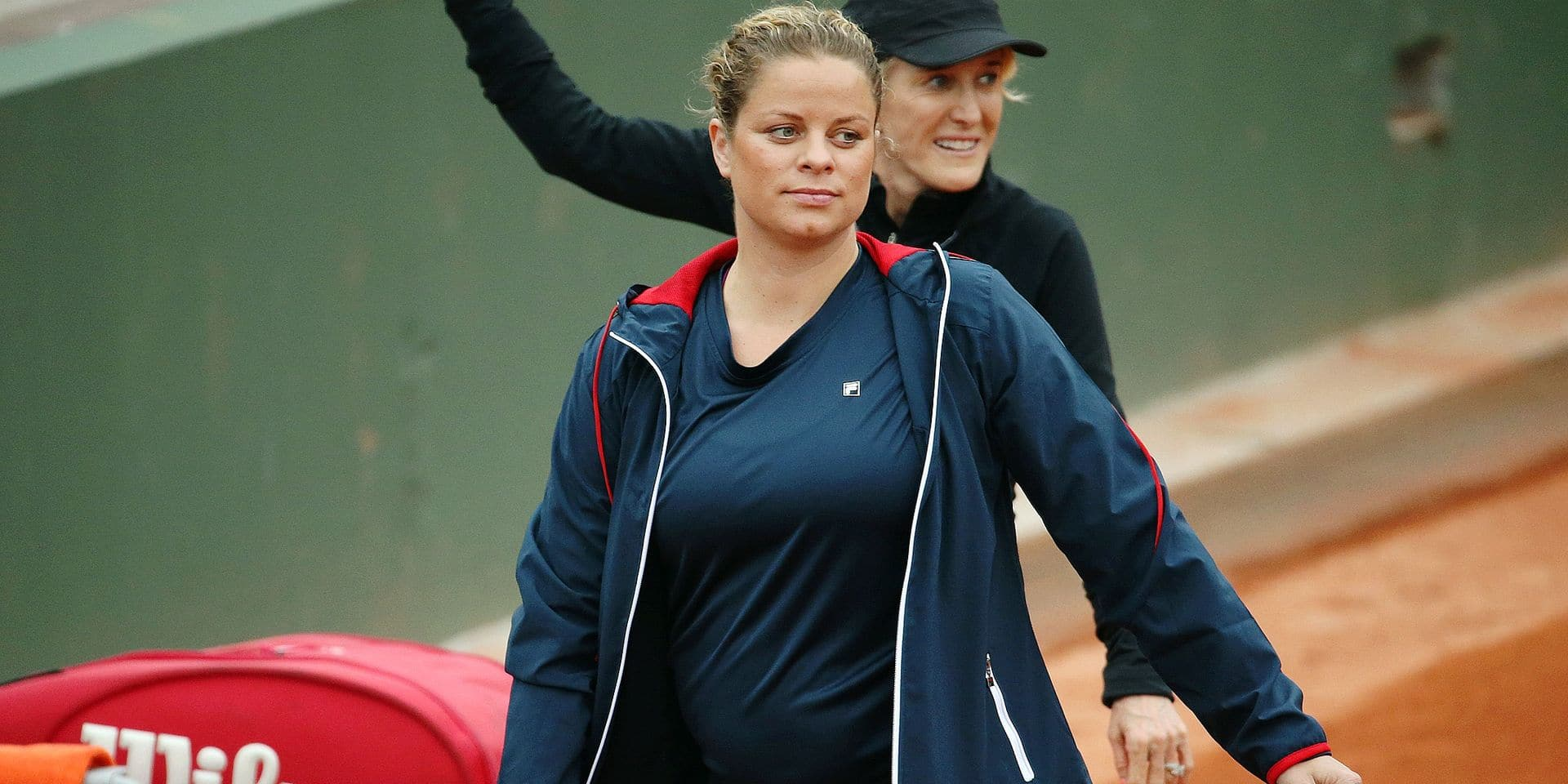 former tennis number 1 Kim Clijsters pictured during a doubles tennis game between American Tracy Austin-Holt and Belgian Kim Clijsters versus Croatian Iva Majoli and Spanish Arantxa Sanchez, during the Legend's Trophy at the Roland Garros French Open tennis tournament, in Paris, France, Wednesday 01 June 2016. The Roland Garros Grand Slam takes place from 15 May to 5 June 2016. BELGA PHOTO VIRGINIE LEFOUR