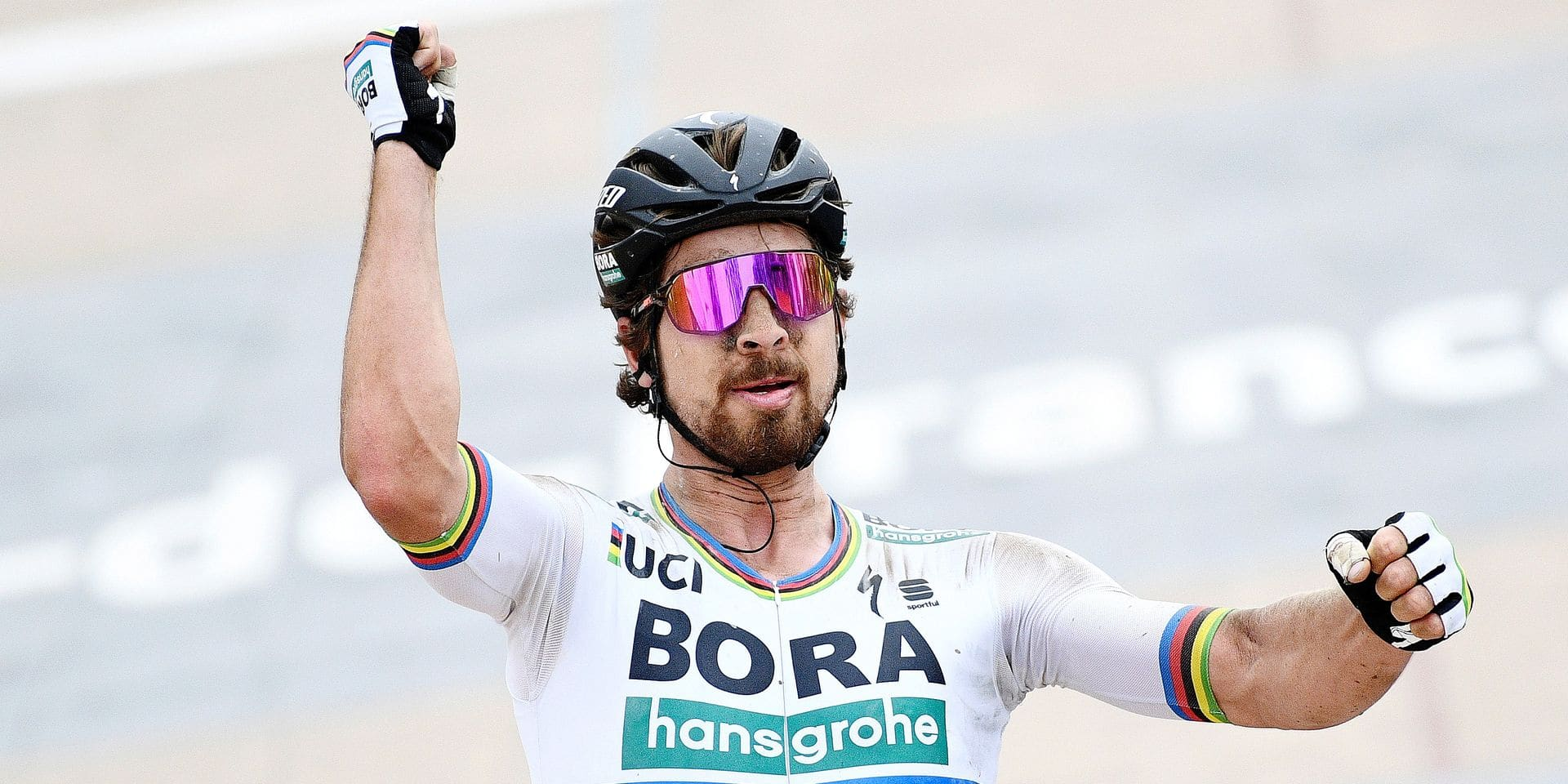Slovakian Peter Sagan of Bora-Hansgrohe celebrates as he crosses the finish line to win the 116th edition of the 'Paris-Roubaix' one day cycling race, from Compiegne, near Paris to Roubaix. BELGA PHOTO YORICK JANSENS