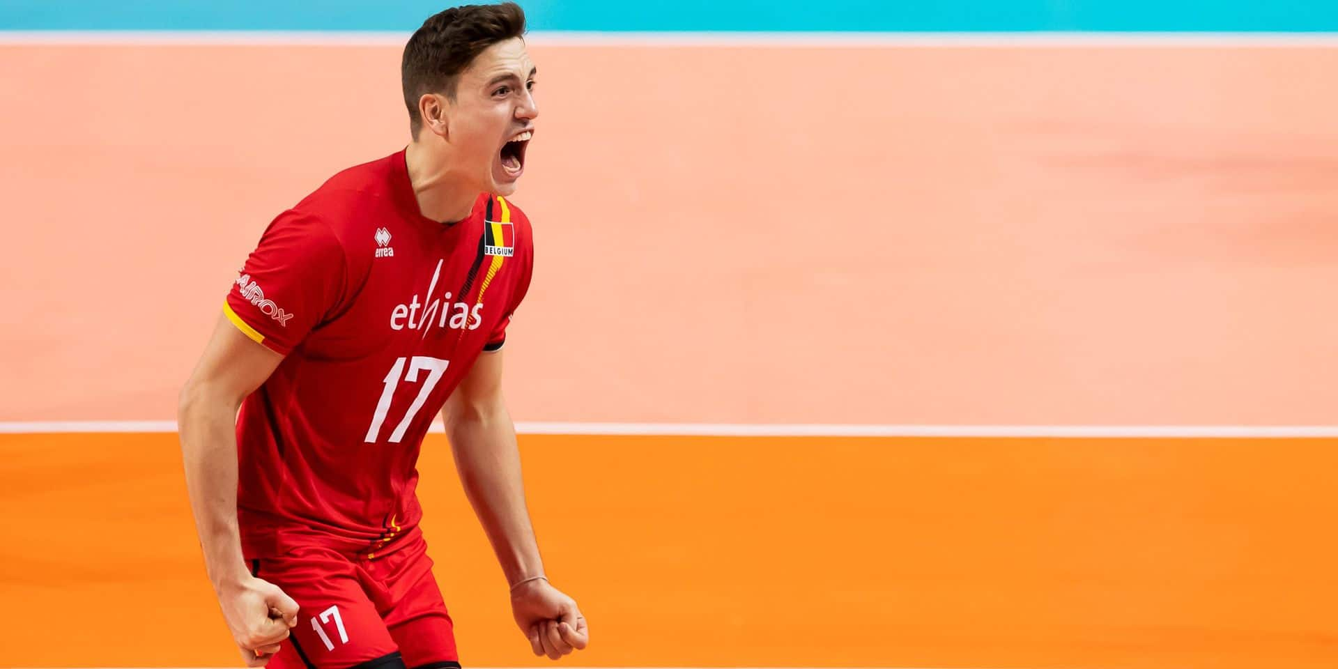 Belgium's Tomas Rousseaux celebrates during a group B game between the Red Dragons, Belgian national volleyball team and Austria, at the European volleyball championships, Friday 13 September 2019, in Brussels. BELGA PHOTO KRISTOF VAN ACCOM