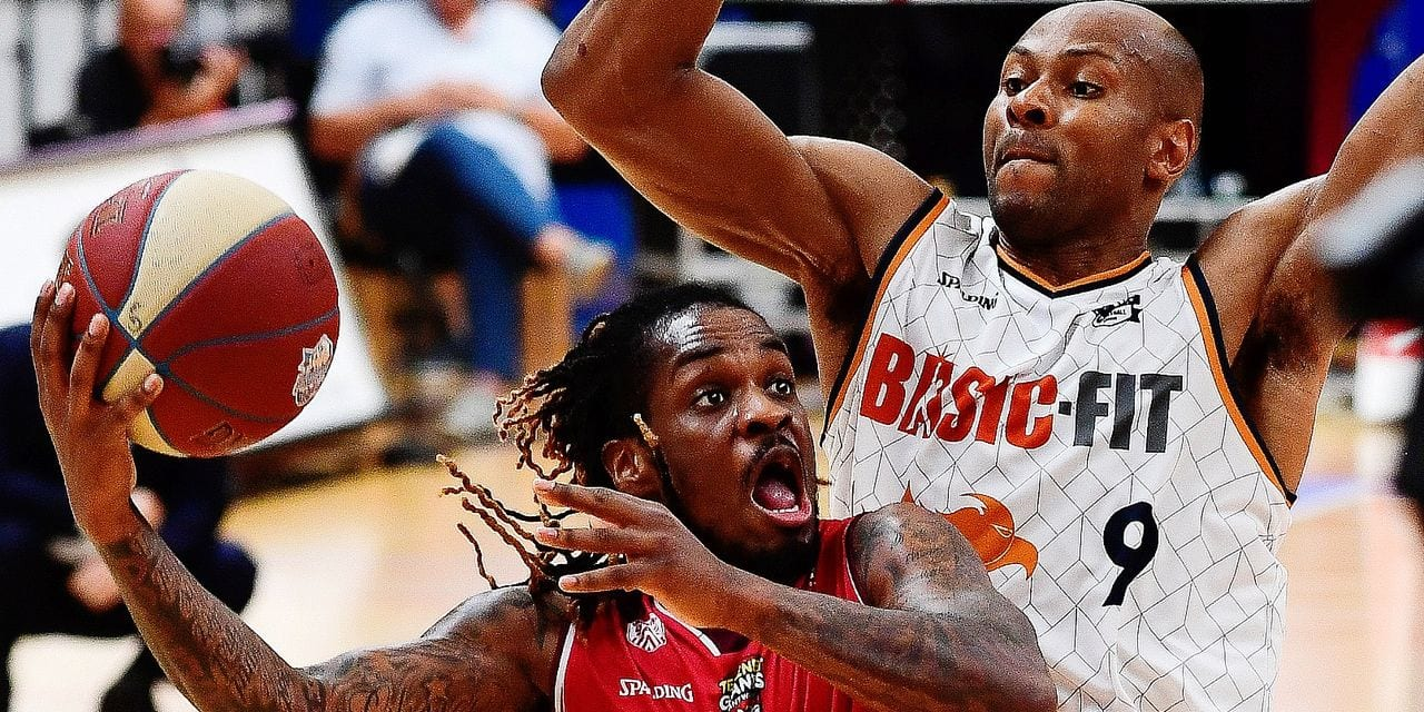 Antwerp's Paris Lee and Brussels' Guy Muya fight for the ball during the basketball match between Brussels and Antwerp Giants, Sunday 02 June 2019 in Brussels, game 2/3 in the semi-finals of the playoffs of the 'EuroMillions League' Belgian first division basket competition. BELGA PHOTO LAURIE DIEFFEMBACQ
