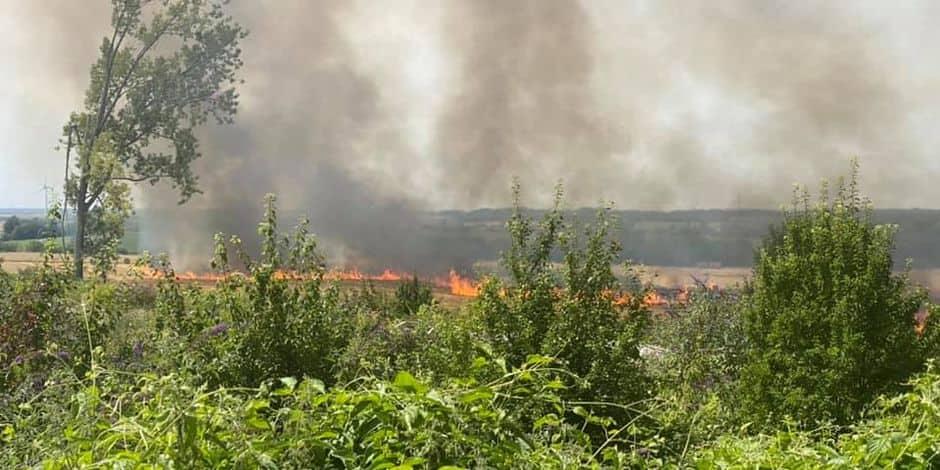 Important incendie dans un champ près de La Louvière