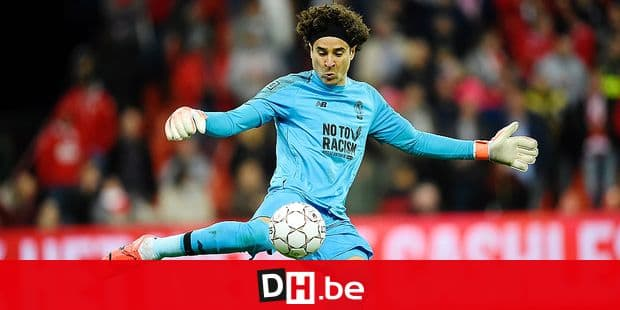 Standard's goalkeeper Guillermo Ochoa pictured in action during a soccer match between Standard de Liege and Club Brugge, Thursday 16 May 2019 in Liege, on day 9 (out of 10) of the Play-off 1 of the 'Jupiler Pro League' Belgian soccer championship. BELGA PHOTO JOHN THYS