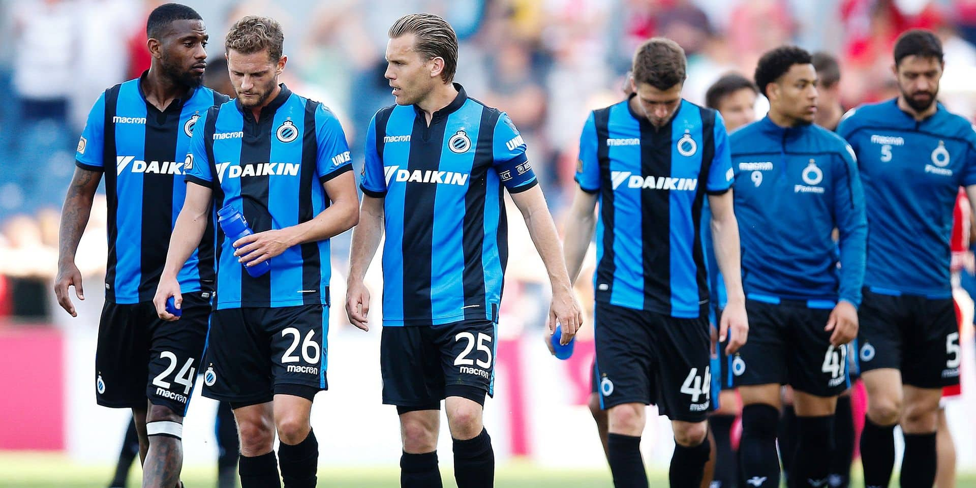 Club's players look dejected after a soccer match between Royal Antwerp FC and Club Brugge, Monday 22 April 2019 in Antwerp, on day 5 (out of 10) of the Play-off 1 of the 'Jupiler Pro League' Belgian soccer championship. BELGA PHOTO BRUNO FAHY