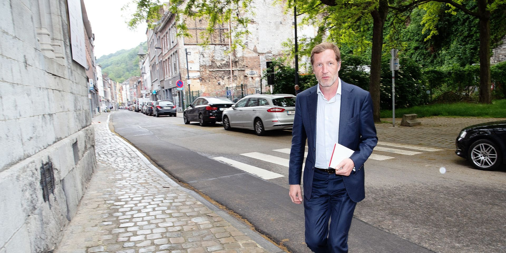 Former Walloon Minister President Paul Magnette arrives for negotiations to form a new Walloon Government, Monday 03 June 2019 in Namur, after last week's elections. BELGA PHOTO BRUNO FAHY