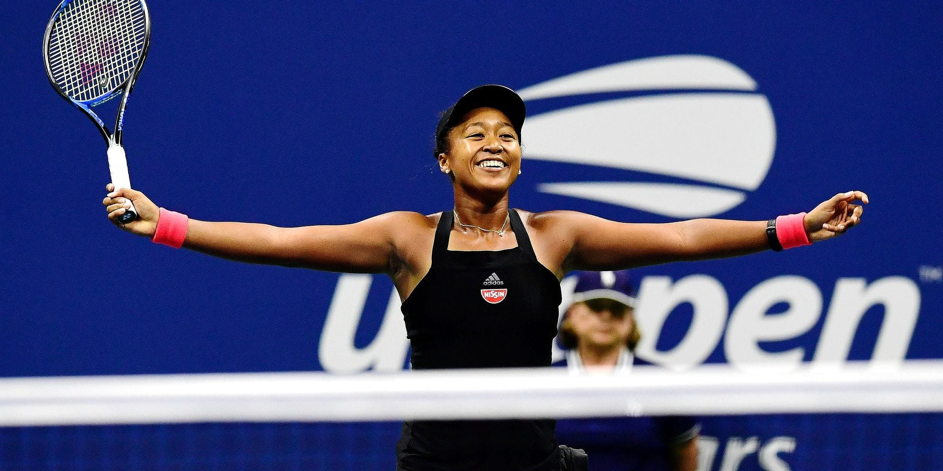 NEW YORK, NY - SEPTEMBER 06: Naomi Osaka of Japan celebrates victory following her women's singles semi-final match against Madison Keys of the United States on Day Eleven of the 2018 US Open at the USTA Billie Jean King National Tennis Center on September 6, 2018 in the Flushing neighborhood of the Queens borough of New York City. Sarah Stier/Getty Images/AFP == FOR NEWSPAPERS, INTERNET, TELCOS & TELEVISION USE ONLY ==