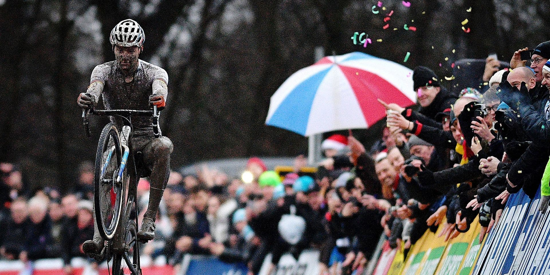 Dutch Mathieu Van Der Poel celebrates as he crosses the finish line to win the men elite race of the World Cup cyclocross in Namur, 6th stage of the UCI World Cup competition, in NamurSunday 23 December 2018. BELGA PHOTO DAVID STOCKMAN