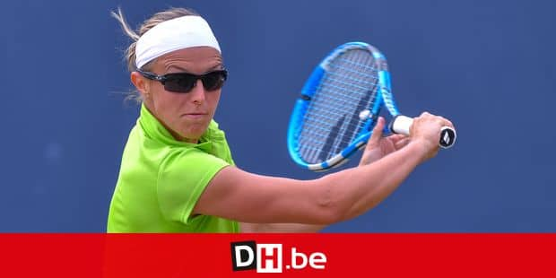 Belgian Kirsten Flipkens pictured in action during a tennis game between Belgian Kirsten Flipkens (WTA 60) and Belarus Aryna Sabalenka (WTA 46), in the quarter-finals of the women's singles at the Libema Open ATP tennis tournament in Rosmalen, the Netherlands, Friday 15 June 2018. BELGA PHOTO LUC CLAESSEN