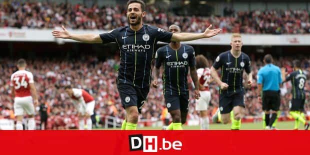 Manchester City's Bernardo Silva celebrates after scoring his side's second goal during the English Premier League soccer match between Arsenal and Manchester City at the Emirates stadium in London, England, Sunday, Aug. 12, 2018. (AP Photo/Tim Ireland)