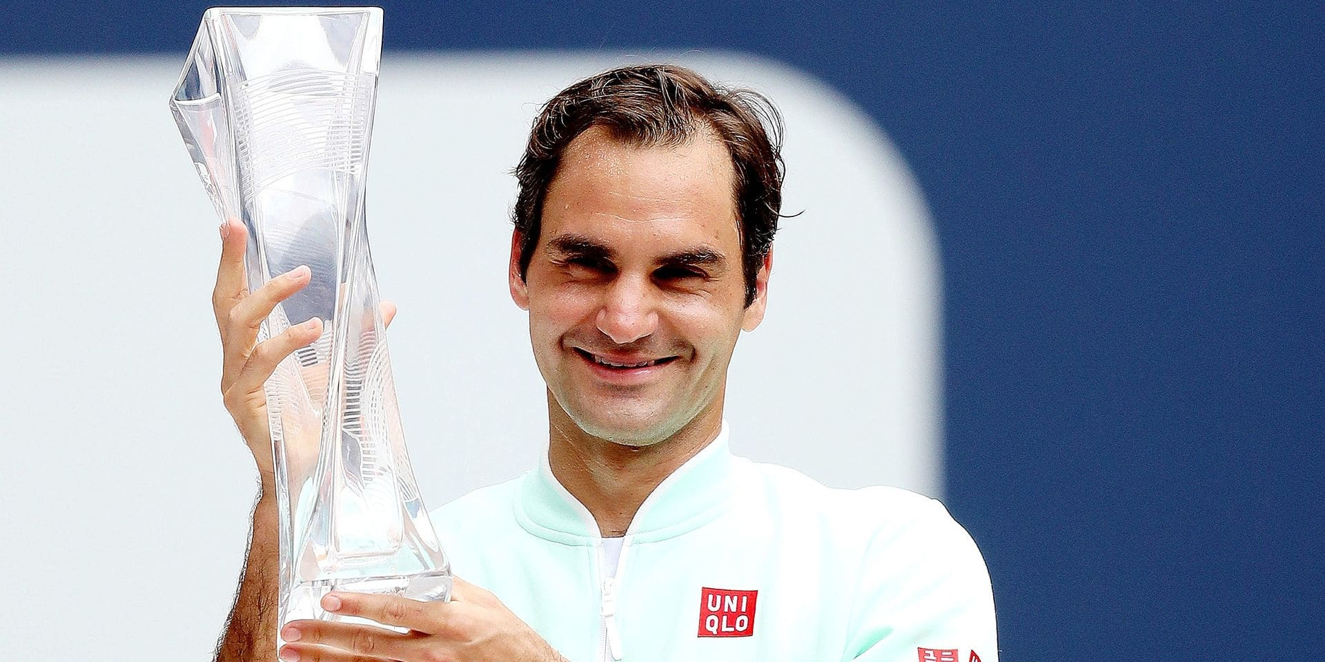MIAMI GARDENS, FLORIDA - MARCH 31: Roger Federer of Switzerland celebrates with the Butch Buchholz Trophy after defeating John Isner during the men's final of the Miami Open Presented by Itau at Hard Rock Stadium March 31, 2019 in Miami Gardens, Florida. Matthew Stockman/Getty Images/AFP == FOR NEWSPAPERS, INTERNET, TELCOS & TELEVISION USE ONLY ==