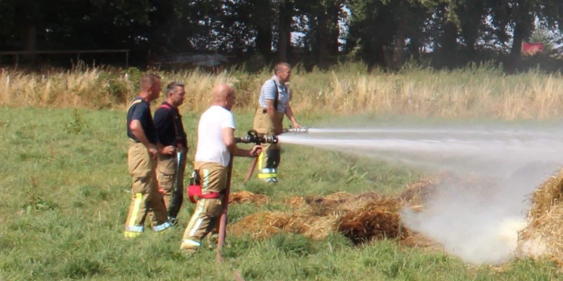Début d'Incendie à Izier (Durbuy) : 60 m3 de foin évacués