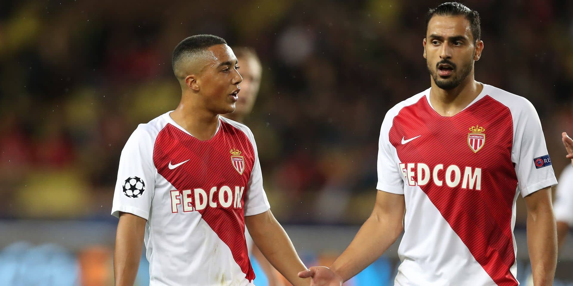 Monaco's Youri Tielemans and Monaco's Nacer Chadli pictured during a game between AS Monaco and Belgian soccer team Club Brugge KV in the Principality of Monaco, Tuesday 06 November 2018, on day four of the UEFA Champions League, in group A. BELGA PHOTO BRUNO FAHY