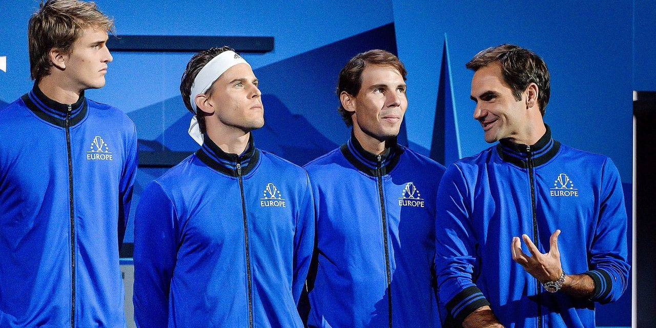 Team Europe's players (From L) Alexander Zverev, Dominic Thiem, Rafael Nadal and Roger Fereder stand prior to the start of the 2019 Laver Cup tennis tournament in Geneva, on September 20, 2019. (Photo by Fabrice COFFRINI / AFP)