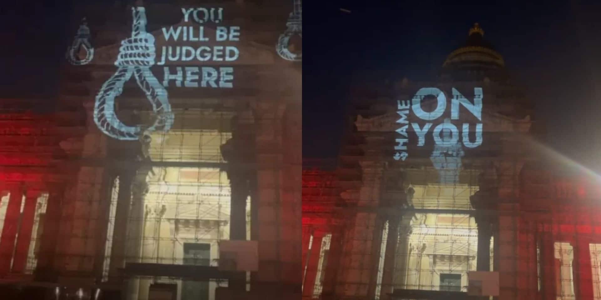 Un message sanglant de protestation projeté sur le Palais de Justice de Bruxelles