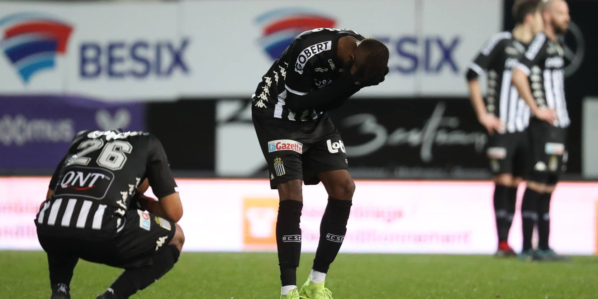 Charleroi's Marco Ilaimaharitra and Charleroi's Victor Osimhen look dejected after a soccer match between Sporting Charleroi and KV Oostende, Saturday 09 February 2019 in Charleroi, on the 25th day of the 'Jupiler Pro League' Belgian soccer championship season 2018-2019. BELGA PHOTO VIRGINIE LEFOUR
