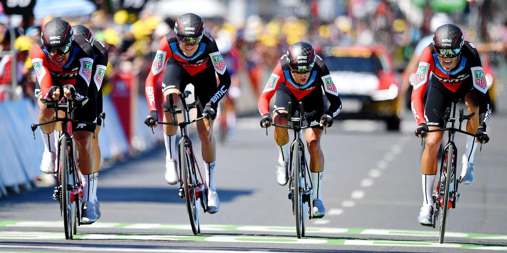 BMC Racing Team riders with 87 Belgian Greg Van Avermaet of BMC Racing crosses the finish line to win the third stage of the 105th edition of the Tour de France cycling race, a team time trial (35,5km) from Cholet to Cholet, France, Monday 09 July 2018. This year's Tour de France takes place from July 7th to July 29th. BELGA PHOTO DAVID STOCKMAN
