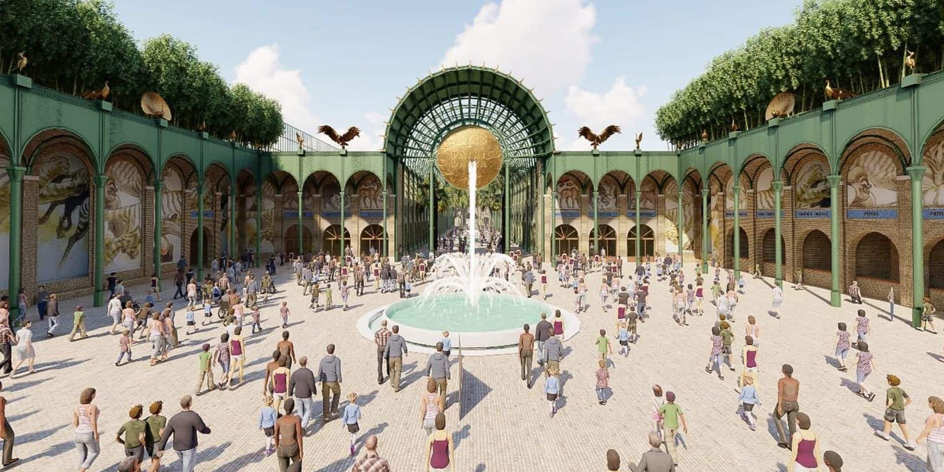 Voici à quoi ressemblera la Main Street, nom donné à la future entrée du parc Pairi Daiza qui invitera les visiteurs à traverser une immense verrière longue d'une centaine de mètres.