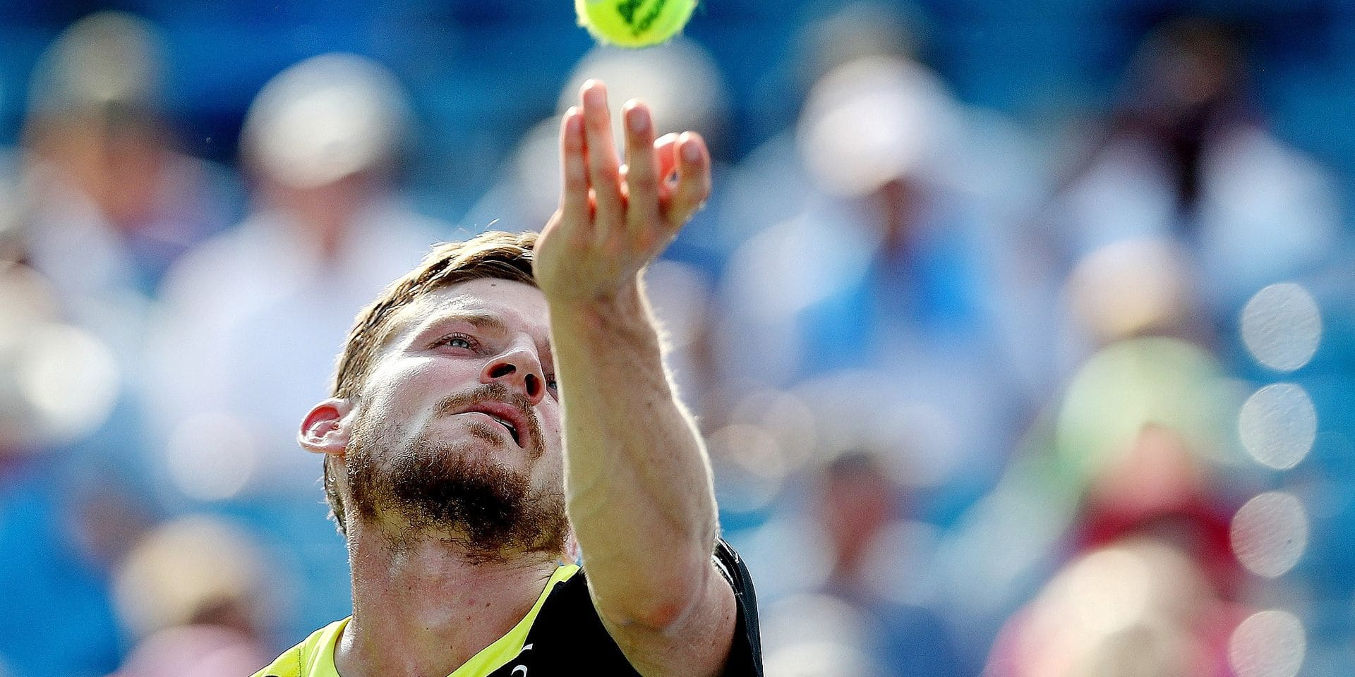 MASON, OHIO - AUGUST 18: David Goffin of Belgium serves to Daniil Medvedev of Russia during the men's final of the Western & Southern Open at Lindner Family Tennis Center on August 18, 2019 in Mason, Ohio. Matthew Stockman/Getty Images/AFP == FOR NEWSPAPERS, INTERNET, TELCOS & TELEVISION USE ONLY ==