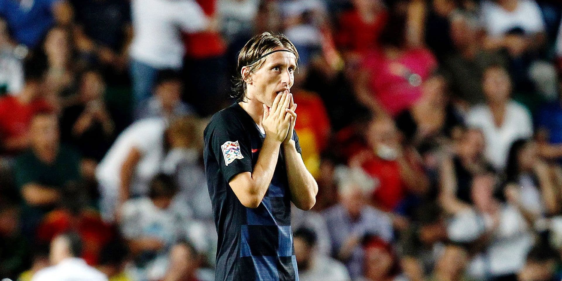 Croatia's Luka Modric reacts after Spain's Rodrigo Moreno scoring his side's fourth goal during the UEFA Nations League soccer match between Spain and Croatia at the Manuel Martinez Valero stadium in Elche, Spain, Tuesday Sept. 11, 2018. (AP Photo/Alberto Saiz)