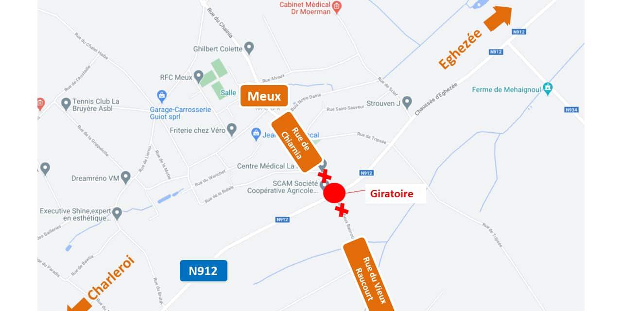 N912 à La Bruyère : lancement du chantier d'aménagement d'un giratoire à Meux