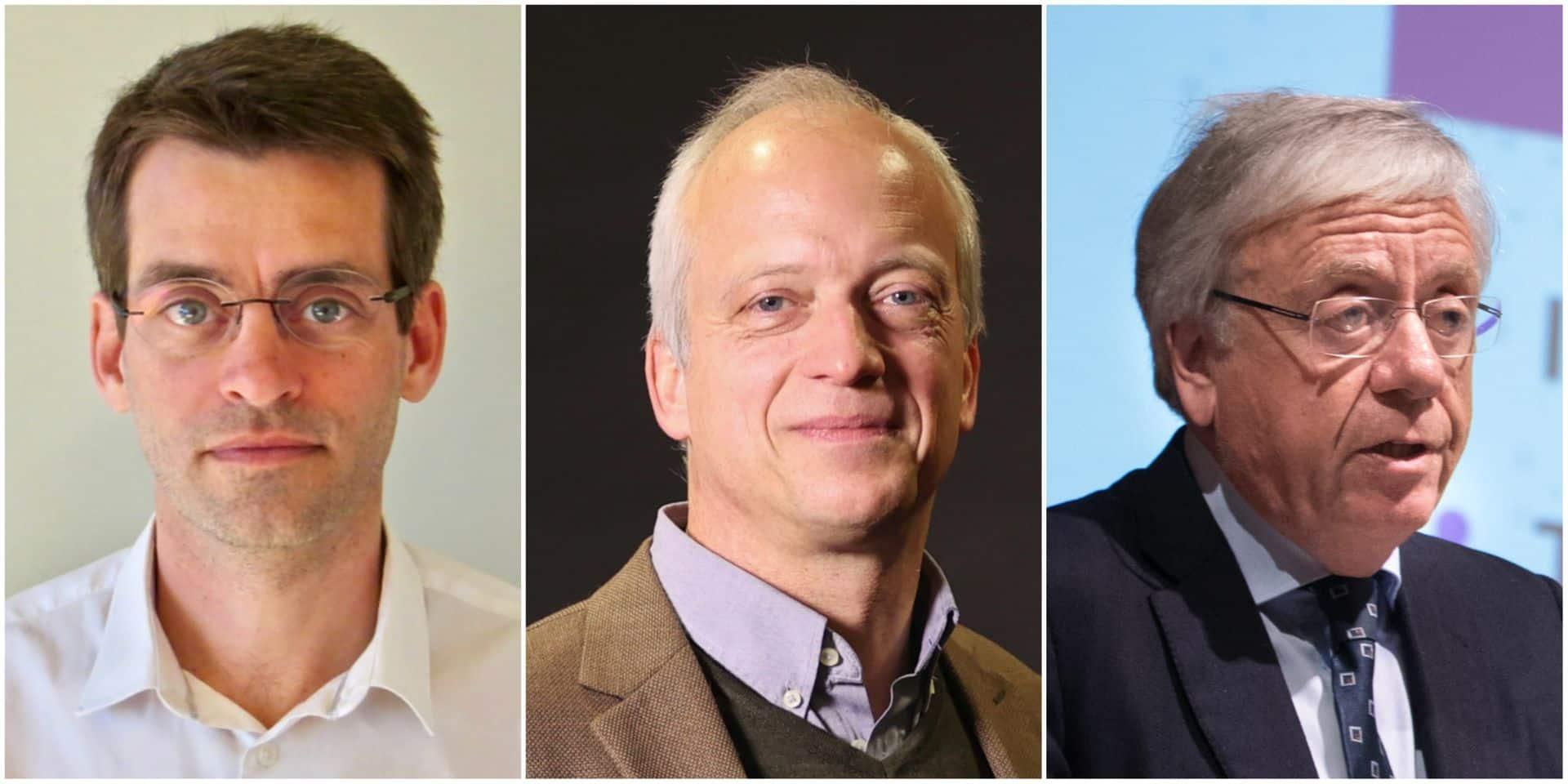 Les experts Pierre Smeesters (gauche), Yves Coppieters (centre) et Michel Goldman (droite).