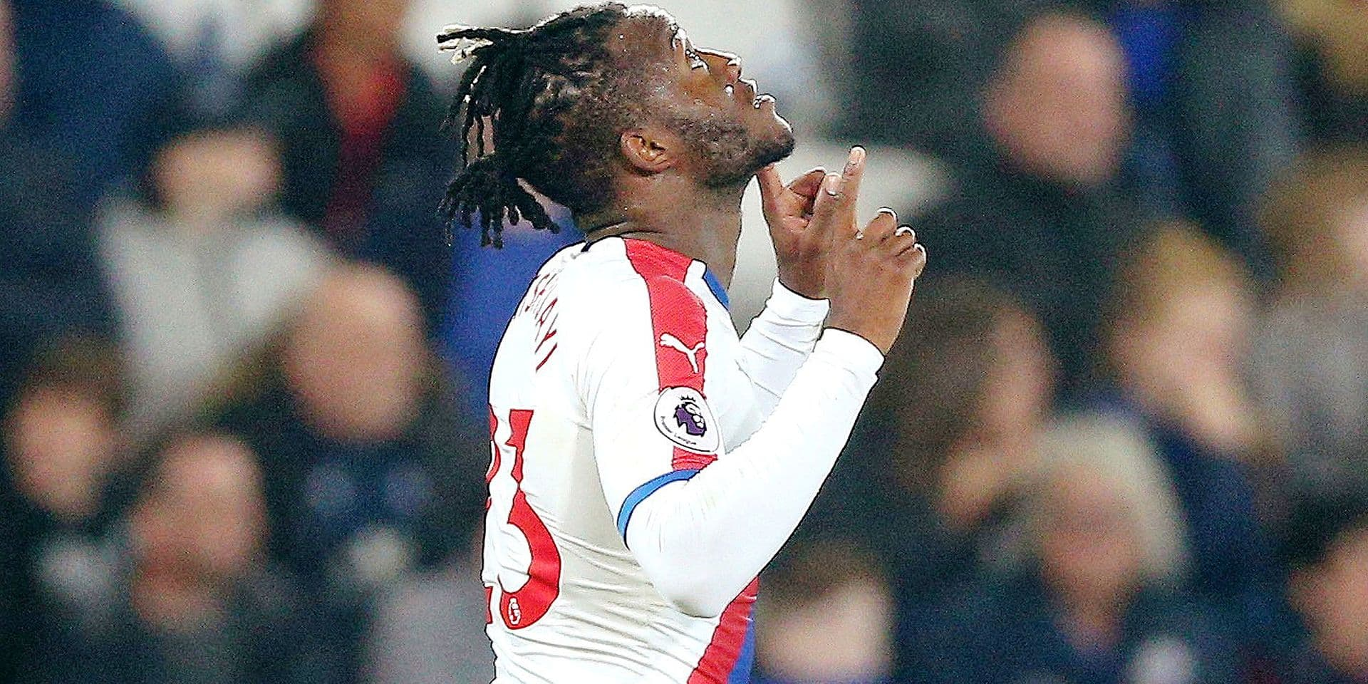Crystal Palace's Michy Batshuayi celebrates scoring his sides first goal of the game against Leicester City during their English Premier League soccer match at the King Power Stadium in Leicester,England, Saturday Feb. 23, 2019. (Nigel French/PA via AP)