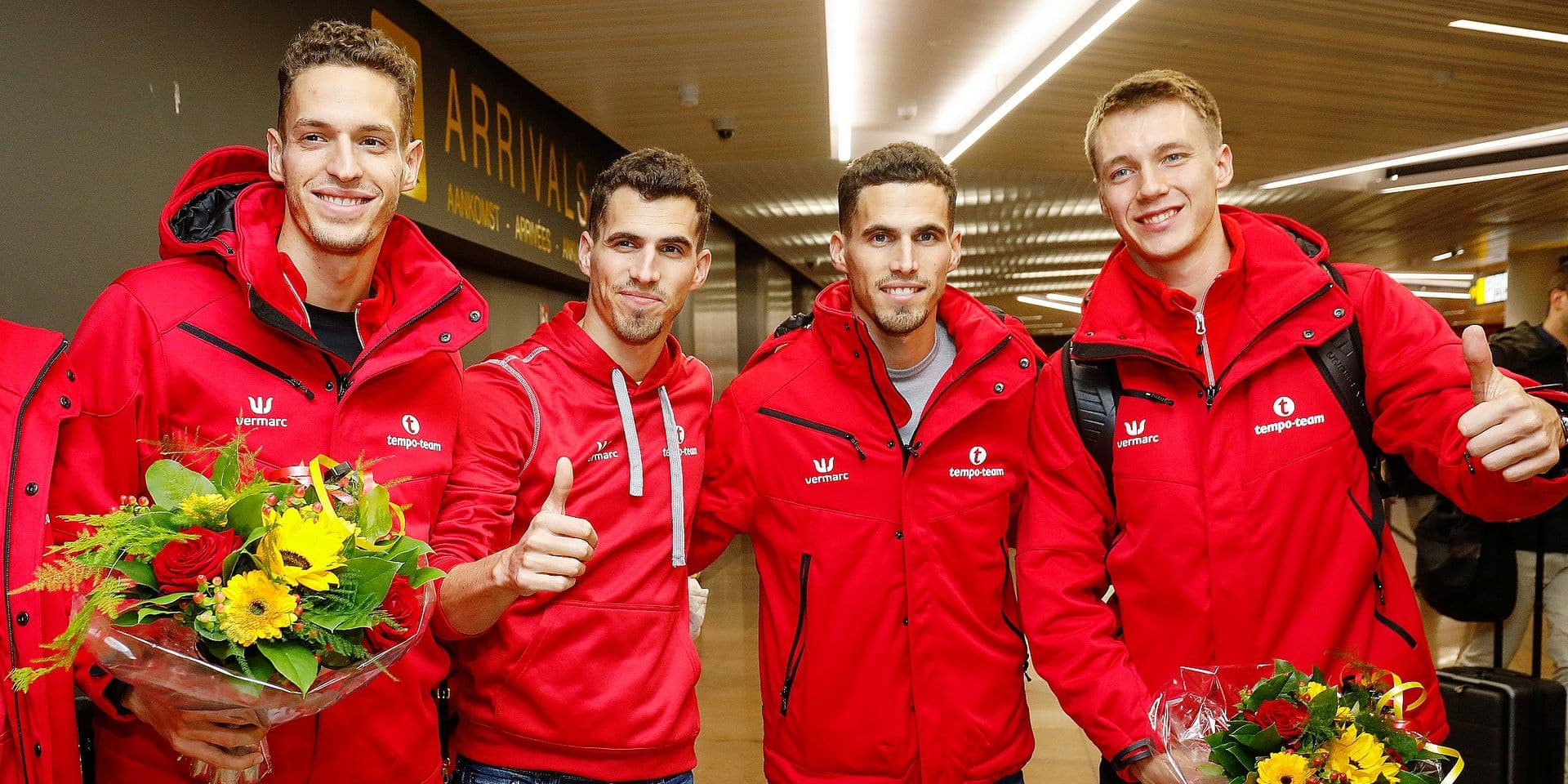 Belgian Dylan Borlee, Belgian Jonathan Borlee, Belgian Kevin Borlee and Belgian Julien Watrin pictured during the arrival of the Belgian delegation back from European Athletics Indoor Championships, in Glasgow, in Zaventem airport, Monday 04 March 2019. BELGA PHOTO THIERRY ROGE