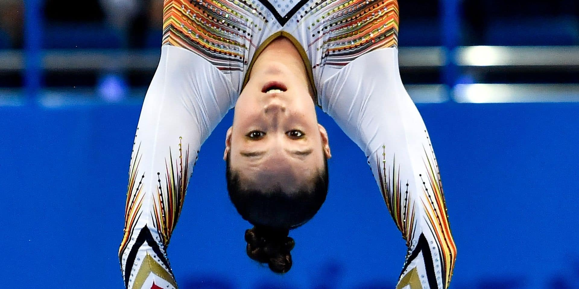 Nina Derwael pictured in action during qualifications of the women's artistic gymnastics event at the European Games in Minsk, Belarus, Thursday 27 June 2019. The second edition of the 'European Games' takes place from 21 to 30 June in Minsk, Belarus. Belgium will present 51 athletes from 11 sports. BELGA PHOTO DIRK WAEM