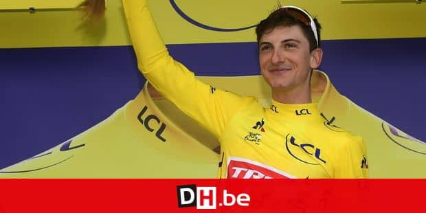 LA PLANCHE DES BELLES FILLES, FRANCE - JULY 11 : CICCONE Giulio (ITA) of TREK - SEGAFREDO pictured with the yellow jersey during the podium ceremony during stage 6 of the 106th edition of the 2019 Tour de France cycling race, a stage of 160,5 kms with start in Mulhouse and finish in La Planche Des Belles Filles on July 11, 2019 in La Planche Des Belles Filles, France, 11/07/2019 ( Motordriver Kenny Verfaillie - Photo by Nico Vereecken / Photo News