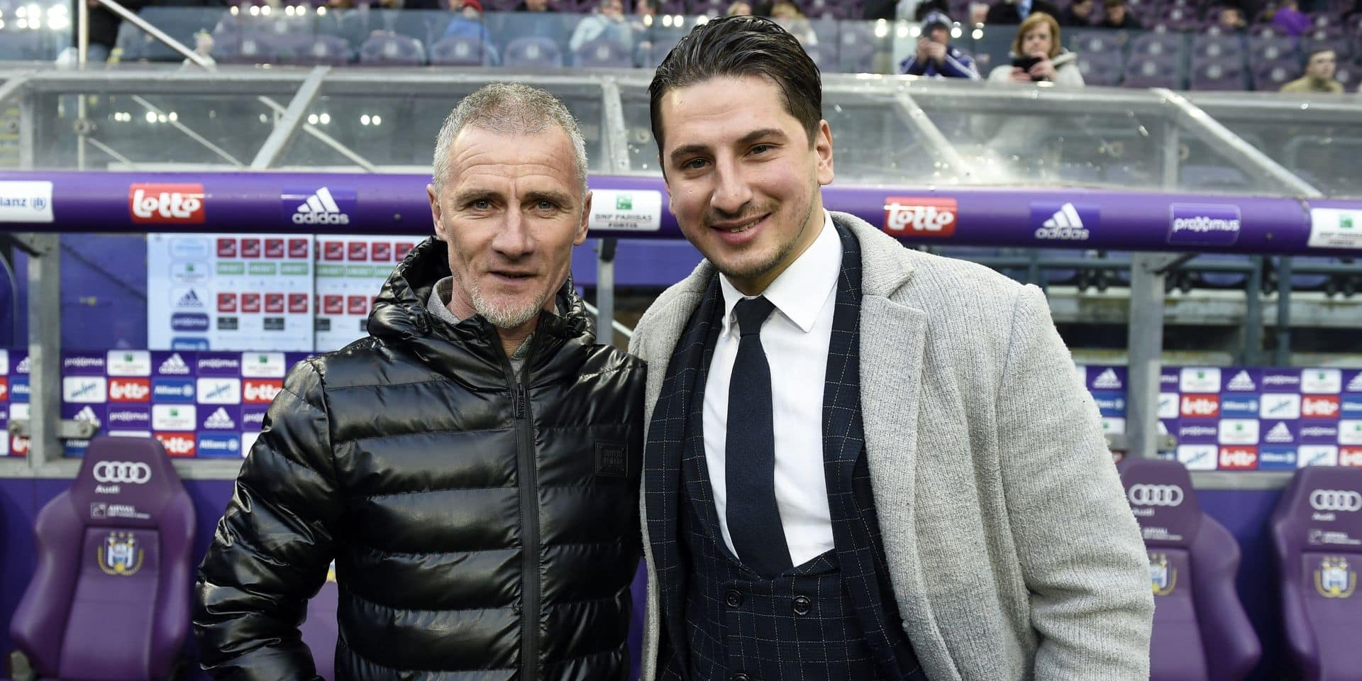 ANDERLECHT, BELGIUM - MARCH 10 : Danny Boffin and Yakovencko ex player rsca pictured during The Jupiler match between RSC Anderlecht KV Kortrijk in Brussels, Belgium March 10, 2019 in Anderlecht, Belgium, 10/03/19 ( Photo by Philippe Crochet / Photonews