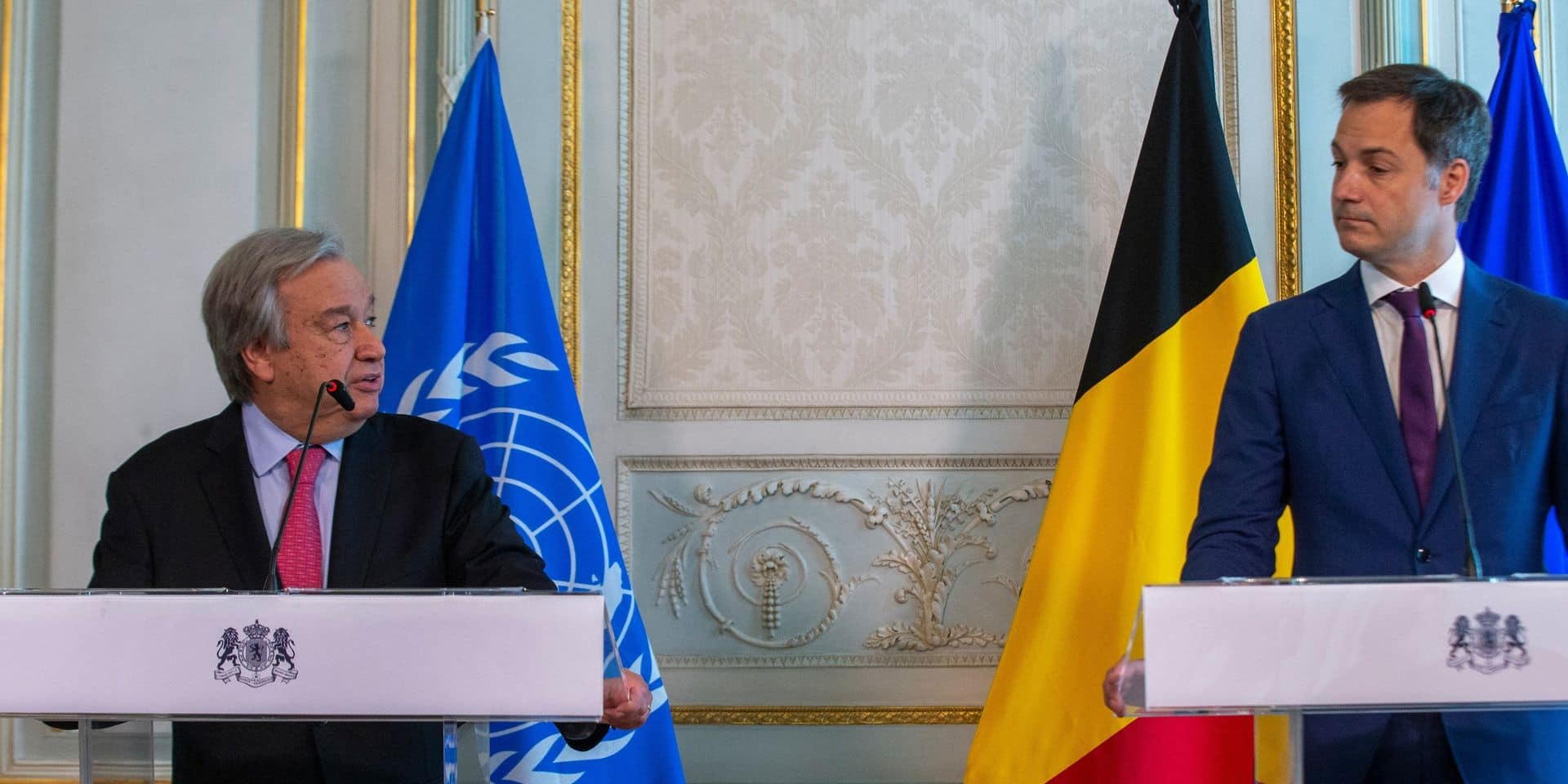 Le secrétaire général de l'Onu, Antonio Guterres, a rencontré Alexander De Croo à Bruxelles, ce jeudi.