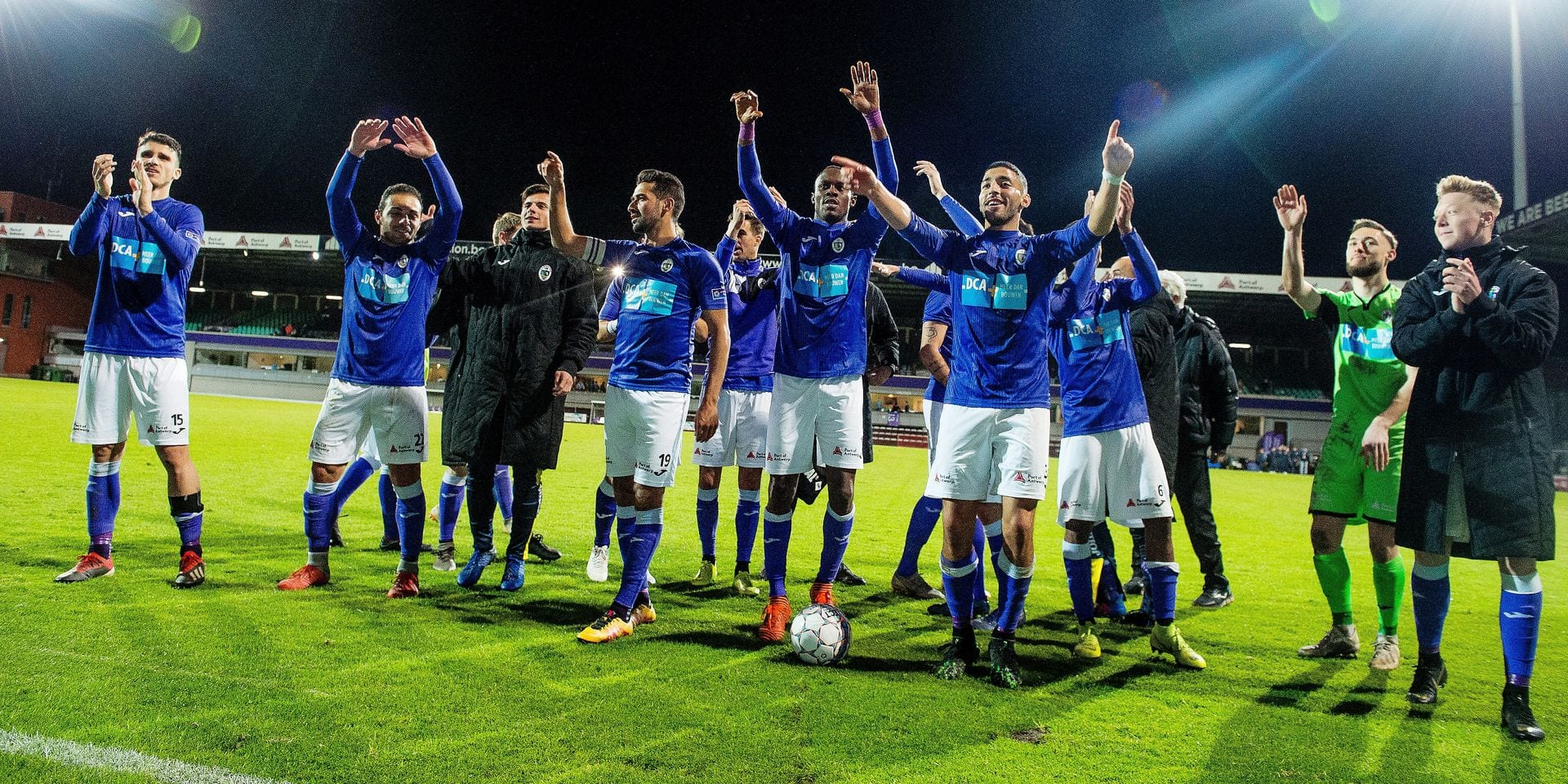 Beerschot's players celebrate after winning a soccer game between KFCO Beerschot-Wilrijk and KVC Westerlo, Saturday 04 May 2019 in Antwerp, on day 7 (out of 10) of the Play-off 2A of the 'Jupiler Pro League' Belgian soccer championship. BELGA PHOTO JASPER JACOBS